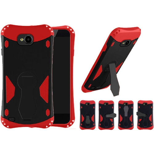 Insten 360 Rotation Hard Dual Layer Plastic TPU Cover Case w/stand For LG X Venture, Black/Red