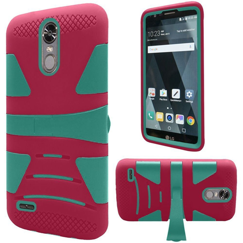 Insten Hard Dual Layer TPU Case w/stand For LG Stylo 3, Hot Pink/Teal
