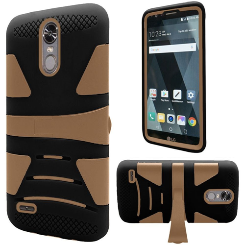 Insten Hard Dual Layer TPU Cover Case w/stand For LG Stylo 3, Black/Gold