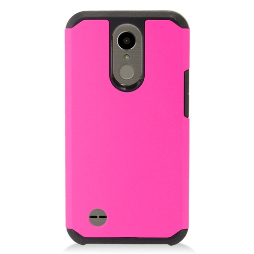 Insten Hard TPU Cover Case For LG Harmony/K10 (2017)/K20 Plus/K20 V, Hot Pink/Black