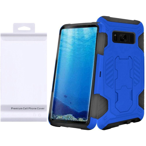 Insten SuperCoil Hard Hybrid Plastic Case w/stand For Samsung Galaxy S8, Blue/Black
