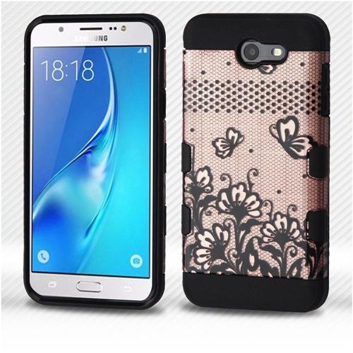 Insten Lace Flower Hard Hybrid Case For Samsung Galaxy J7 (2017)/J7 Sky Pro/J7 V, Rose Gold/Black