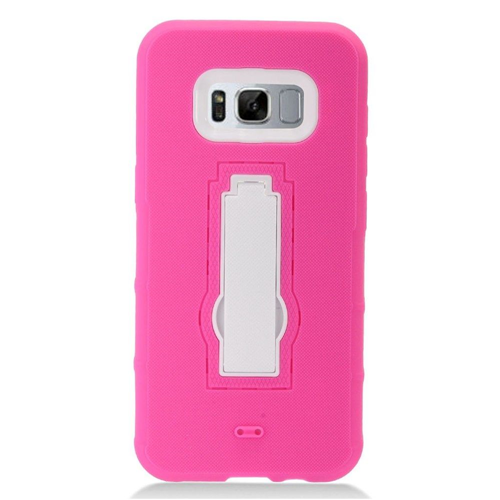 Insten Symbiosis Skin Rubber Hard Cover Case w/stand For Samsung Galaxy S8, Hot Pink/White