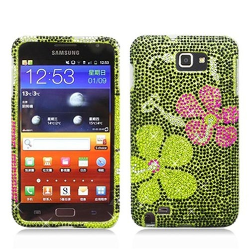 Insten Flowers Hard Bling Case For Samsung Galaxy Note LTE, Green
