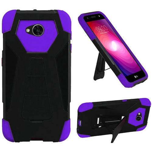 Insten T-Stand Hybrid Silicone Case w/stand For LG Fiesta LTE/K10 Power/X Charge, Black/Purple