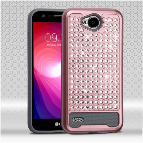 Insten Hard Dual Layer Rhinestone Silicone Case For LG X Power 2, Rose Gold/Silver