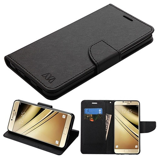 Insten Flip Leather Fabric Case w/stand/card holder For Samsung Galaxy C7 Pro, Black