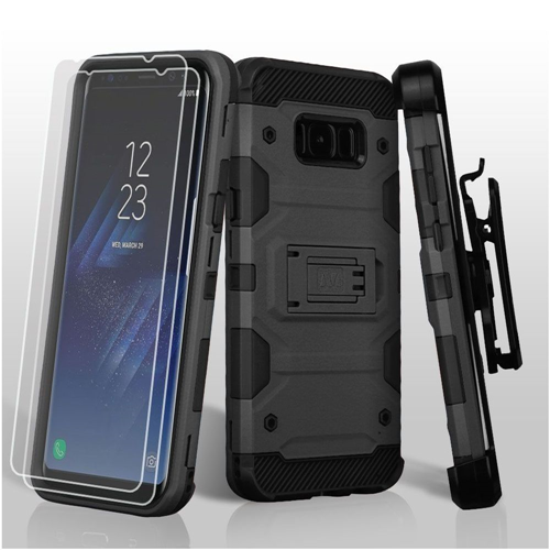 Insten Tank Hard Plastic TPU Case Lanyard w/stand/Bundled For Samsung Galaxy S8 Plus, Black