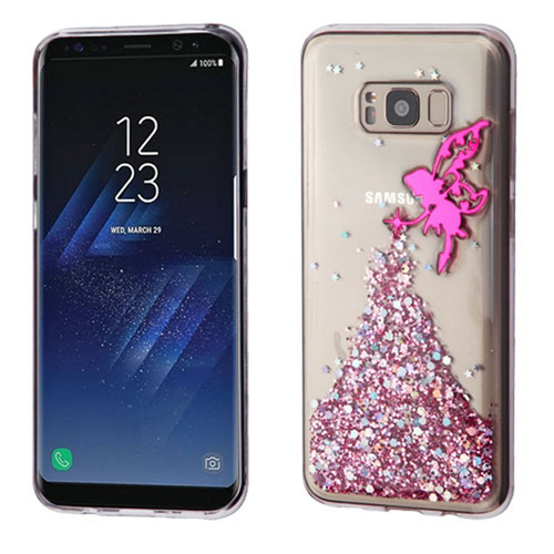 Insten Glitter Fairy Gel 3D Cover Case For Samsung Galaxy S8 Plus, Hot Pink/Clear