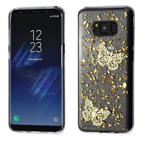 Insten Glitter Butterflies Rubber 3D Cover Case For Samsung Galaxy S8, Gold/Clear