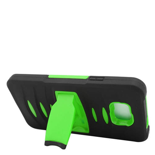 Insten Soft Dual Layer Rubber Hard Case w/stand For Samsung Galaxy Alpha, Black/Green