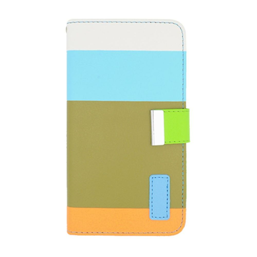 Insten Multicolor Book-Style Leather Fabric Case w/card slot For Samsung Galaxy Note 3, Green/Blue