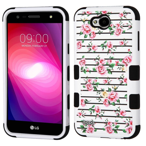 Insten Tuff Roses Hard Dual Layer Plastic TPU Case For LG X Power 2, Multi-Color