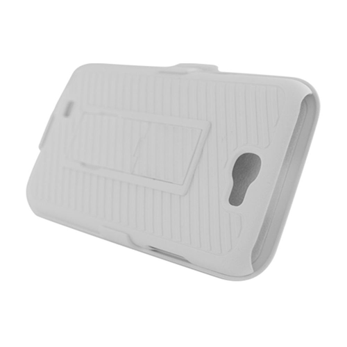 Insten Hard Rubberized Case w/stand/Holster For Samsung Galaxy Note II, White