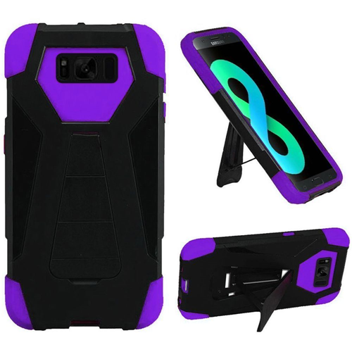 Insten T-Stand Hard Dual Layer Rubber Coated Silicone Case For Samsung Galaxy S8 Plus, Black/Purple