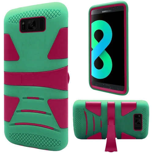 Insten Hard Hybrid Plastic TPU Cover Case w/stand For Samsung Galaxy S8 Plus, Hot Pink/Teal