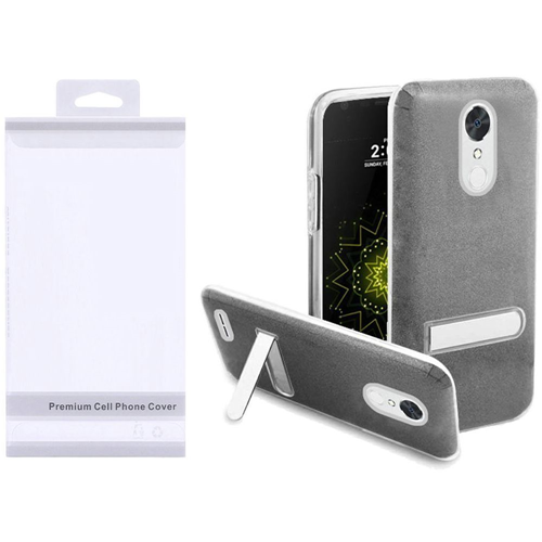 Insten Hard Glitter TPU Cover Case w/stand For LG Grace 4G/Harmony/K20 Plus/K20 V, Smoke/Clear