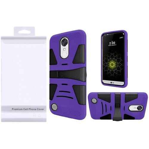 Insten Hybrid Plastic Silicone Case w/stand For LG Grace 4G/Harmony/K20 Plus/K20 V, Black/Purple