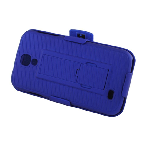 Insten Hard Rubber Case w/stand/Holster For Samsung Galaxy S4, Blue