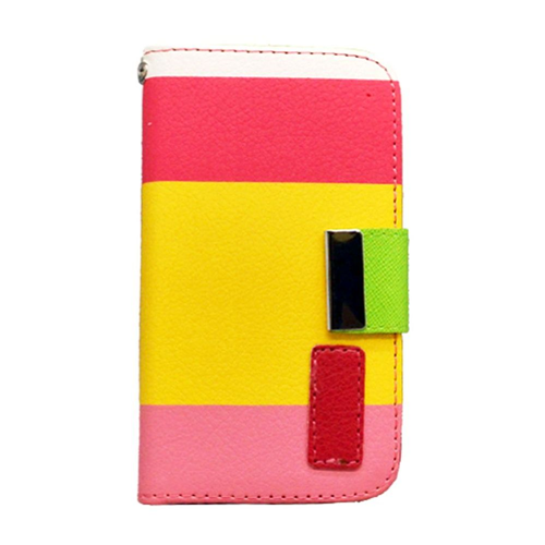 Insten Multicolor Folio Leather Fabric Cover Case w/card slot For Apple iPhone 4/4S, Yellow/Pink