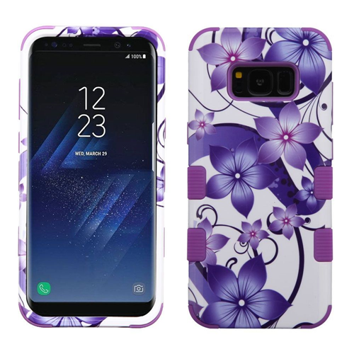 Insten Tuff Hibiscus Flower Romance Hard Hybrid Plastic TPU Case For Samsung Galaxy S8 Plus, Purple