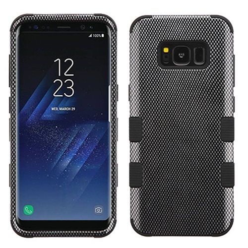 Insten Tuff Carbon Fiber Hard Hybrid Plastic TPU Cover Case For Samsung Galaxy S8, Black