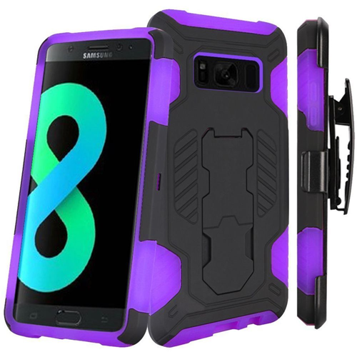Insten SuperCoil Hard Hybrid Plastic Case w/stand/Holster For Samsung Galaxy S8 Plus, Black/Purple