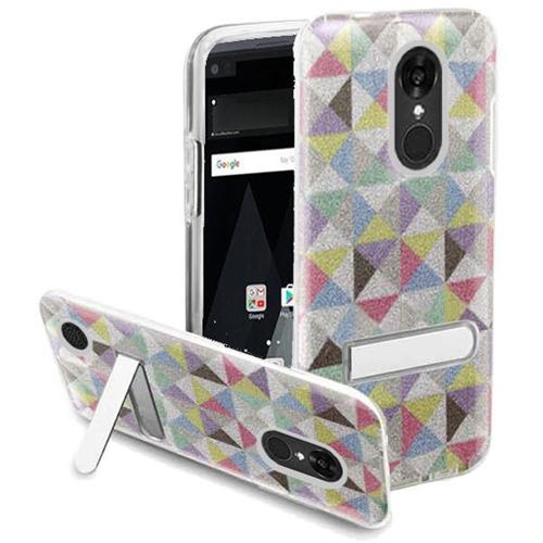 Insten Checker Hard Glitter TPU Cover Case w/stand For LG Aristo/K8 (2017), Colorful