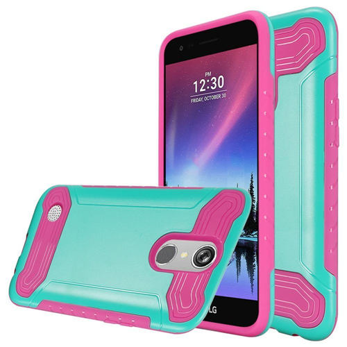 Insten Hard Dual Layer TPU Cover Case For LG Grace 4G/Harmony/K20 Plus/K20 V, Teal/Hot Pink