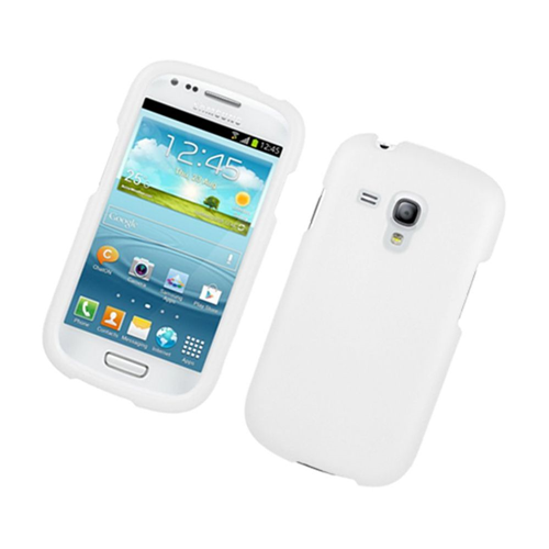 Insten Hard Rubber Coated Cover Case For Samsung Galaxy S3 Mini, White