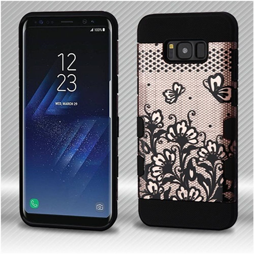 Insten Lace Flowers Hard Rubberized Silicone Case For Samsung Galaxy S8 Plus, Rose Gold/Black