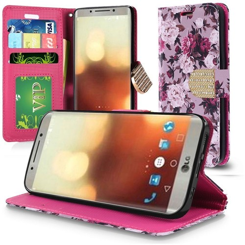 Insten Roses Folio Leather Fabric Case Lanyard w/stand/card holder/Diamond For LG G6, Multi-Color