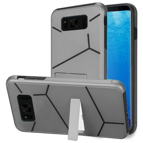 Insten Hard Hybrid Plastic TPU Cover Case w/stand For Samsung Galaxy S8, Silver/Black