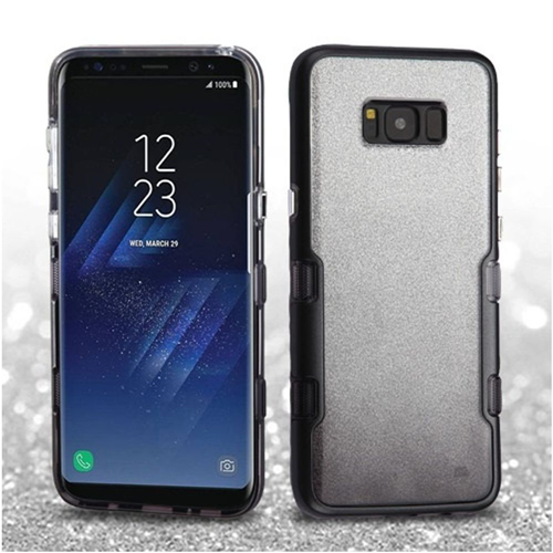 Insten Tuff Hard Hybrid Glitter TPU Case For Samsung Galaxy S8, Silver/Black