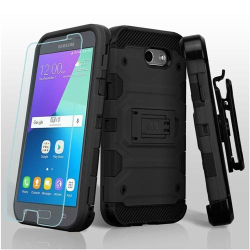 Insten Tank Hard Case For Samsung Galaxy Amp Prime 2/Express Prime 2/J3 (2017)/J3 Emerge, Black