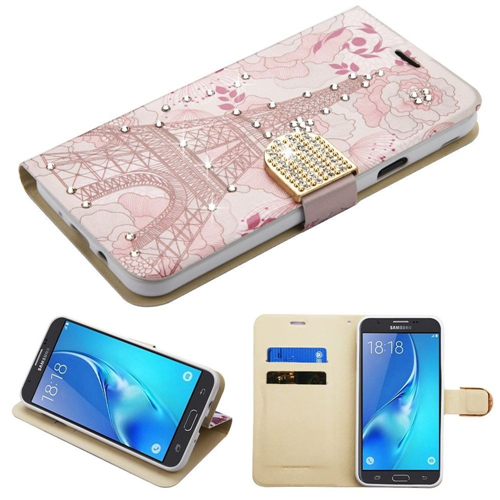 Insten Eiffel Tower Leather Case For Samsung Galaxy J7 (2017)/J7 Perx/J7 Sky Pro/J7 V, Pink