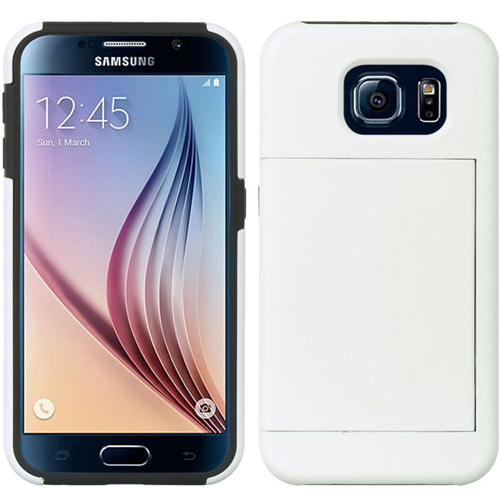 Insten Hard Hybrid Plastic Silicone Case w/card holder For Samsung Galaxy S6, White/Black