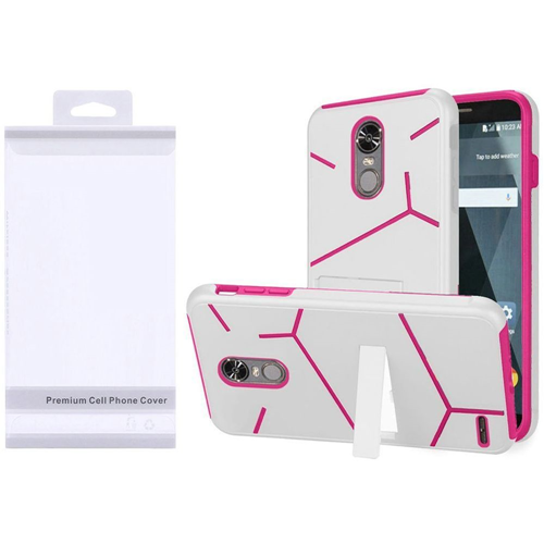 Insten Hard Hybrid Plastic TPU Case w/stand For LG Stylo 3, White/Hot Pink