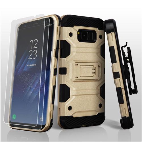 Insten Tank Hard Plastic TPU Case Lanyard w/stand/Bundled For Samsung Galaxy S8 Plus, Gold/Black