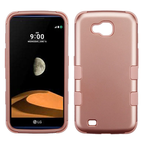 Insten Tuff Hard Dual Layer Plastic TPU Cover Case For LG V9/X Venture, Rose Gold