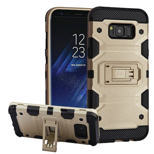 Insten Storm Tank Hard Dual Layer TPU Cover Case w/stand For Samsung Galaxy S8, Gold/Black