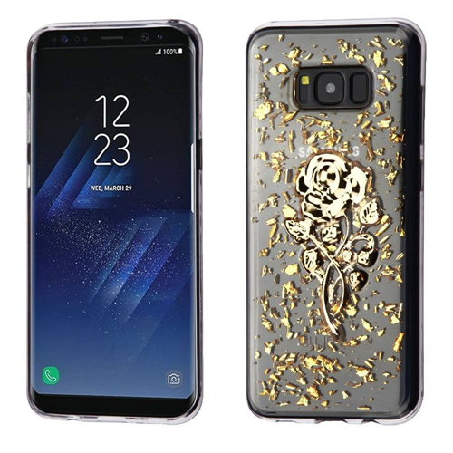 Insten Glitter Rose Rubber 3D Cover Case For Samsung Galaxy S8, Gold/Clear