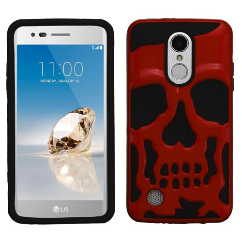 Insten Skullcap Hard Hybrid Case For LG Aristo/Fortune/K4 (2017)/K8 (2017)/LV3/Phoenix 3, Red/Black