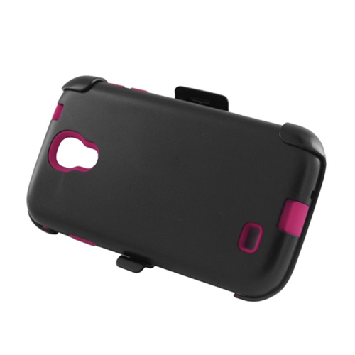 Insten Hard Plastic Silicone Cover Case w/Holster For Samsung Galaxy S4, Black/Hot Pink