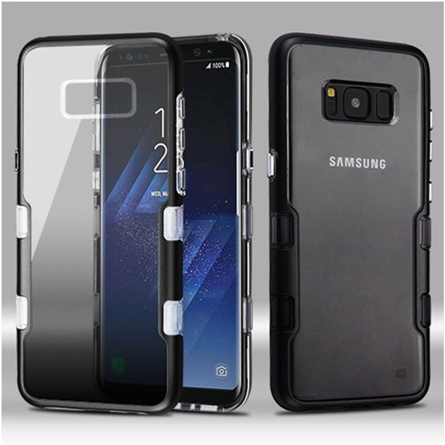 Insten Tuff Hard Hybrid Plastic TPU Cover Case For Samsung Galaxy S8 Plus, Smoke/Silver