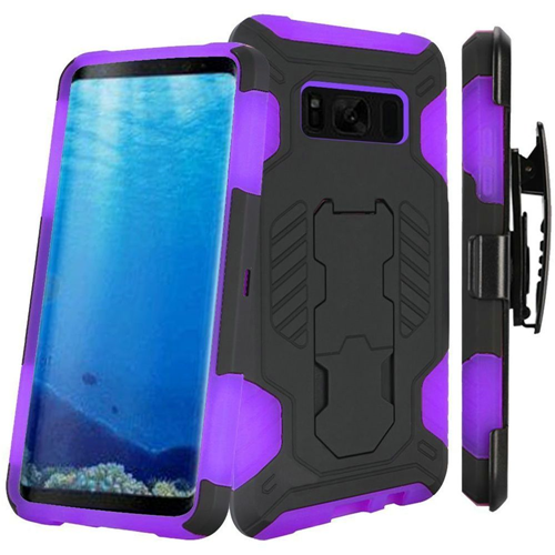 Insten SuperCoil Hard Dual Layer Plastic Case w/stand/Holster For Samsung Galaxy S8, Black/Purple