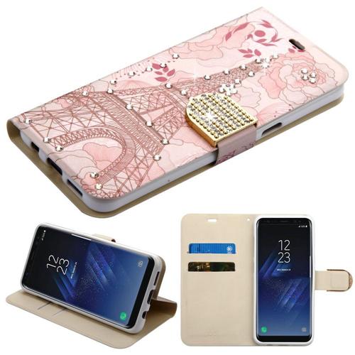 Insten Eiffel Tower Folio Leather Fabric Case w/stand/Diamond For Samsung Galaxy S8, Pink