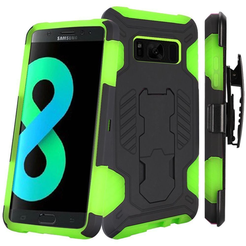 Insten SuperCoil Hard Plastic Case w/stand/Holster For Samsung Galaxy S8 Plus, Black/Neon Green