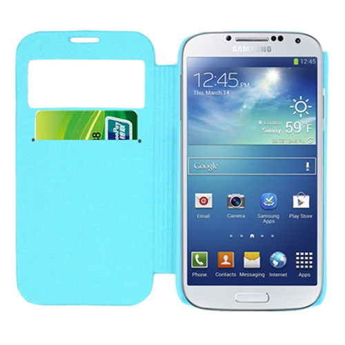 Insten Folio Leather Fabric Cover Case w/card slot For Samsung Galaxy S4, Teal