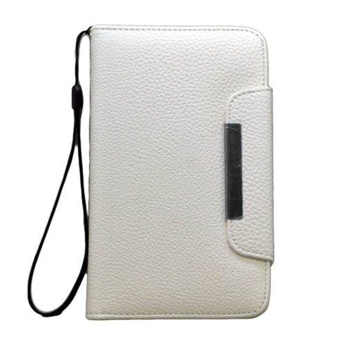 Insten Book-Style Leather Fabric Cover Case Lanyard w/card slot For Samsung Galaxy Note II, White